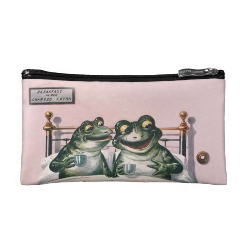 Cute Anthropomorphic Frogs by Ellam; Vintage Art Makeup Bag
