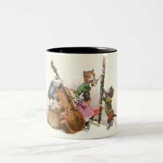 Cute Anthropomorphic Kittens Playing Music Two-Tone Mug