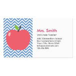 Cute Apple Blue Chevron Teacher Business Card