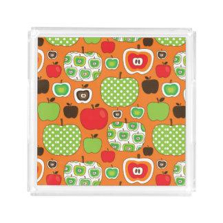 Cute apple illustration pattern acrylic tray