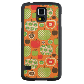 Cute apple illustration pattern carved maple galaxy s5 case
