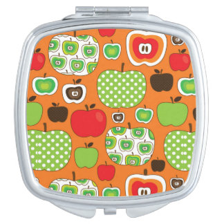 Cute apple illustration pattern compact mirror