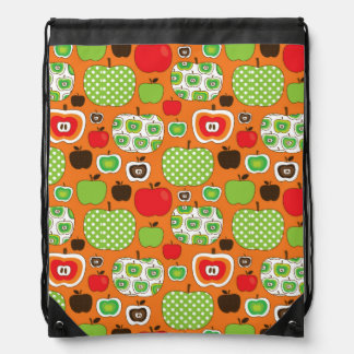 Cute apple illustration pattern drawstring bag