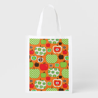 Cute apple illustration pattern reusable grocery bag