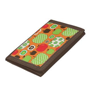 Cute apple illustration pattern tri-fold wallet