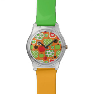 Cute apple illustration pattern watch