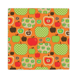 Cute apple illustration pattern wood coaster