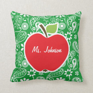 Cute Apple on Kelly Green Paisley Cushion