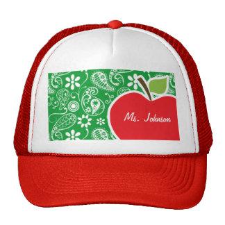 Cute Apple on Kelly Green Paisley Mesh Hats