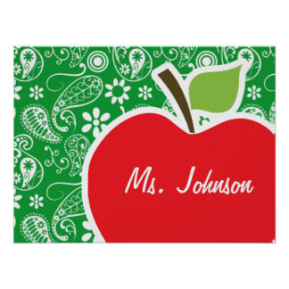 Cute Apple on Kelly Green Paisley Poster