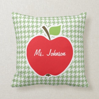 Cute Apple on Laurel Green Houndstooth Pillow