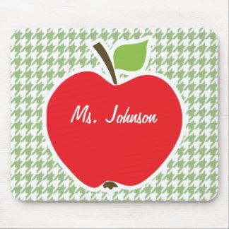 Cute Apple on Laurel Green Houndstooth Mousepad