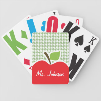 Cute Apple on Laurel Green Houndstooth Bicycle Poker Cards