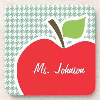Cute Apple on Sea Green Houndstooth Drink Coaster