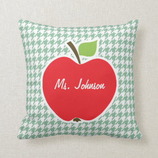 Cute Apple on Sea Green Houndstooth Pillows