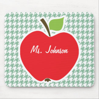 Cute Apple on Sea Green Houndstooth Mouse Pads