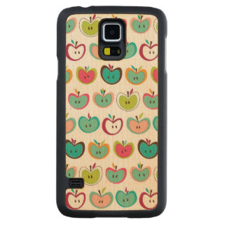 Cute apple pattern carved maple galaxy s5 case