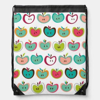 Cute apple pattern drawstring bag