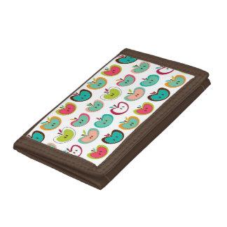 Cute apple pattern tri-fold wallet