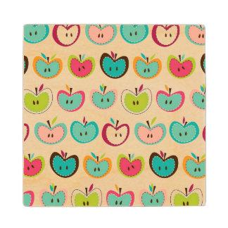 Cute apple pattern wood coaster