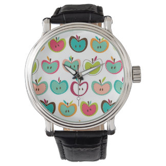 Cute apple pattern wrist watch