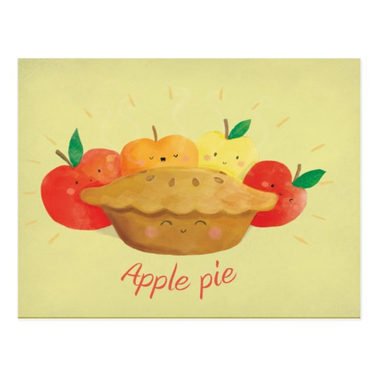 Cute Apple Pie Postcard