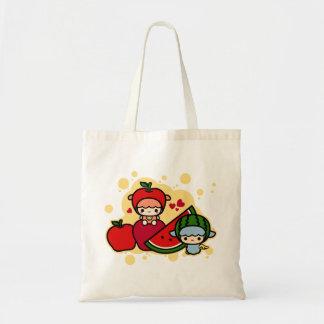 Cute apple watermelon and kawaii pet budget tote bag