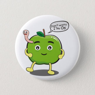cute Apple With cute worm 6 Cm Round Badge