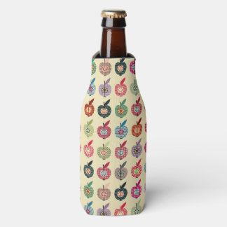 Cute Apples in Retro Style Bottle Cooler