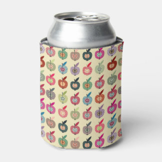 Cute Apples in Retro Style Can Cooler