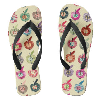 Cute Apples in Retro Style Flip Flops