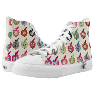 Cute Apples in Retro Style High Tops