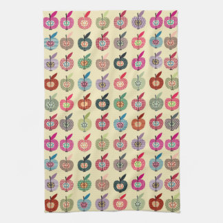 Cute Apples in Retro Style Tea Towel