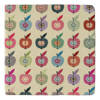 Cute Apples in Retro Style Trivet