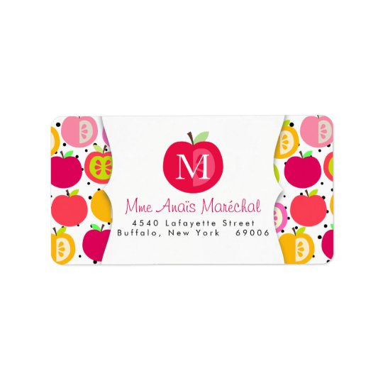 Cute Apples Pattern Teachers Kids Personalised Address Label