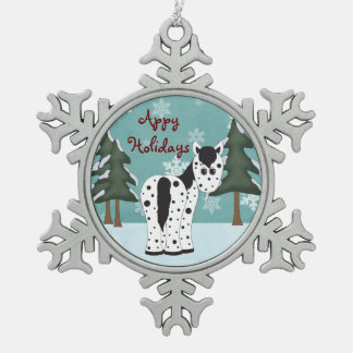 Cute Appy Holidays Leopard Appaloosa Horse Snowflake Pewter Christmas Ornament
