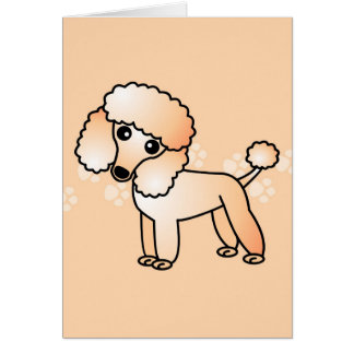 Cute Apricot  Poodle Cartoon Card
