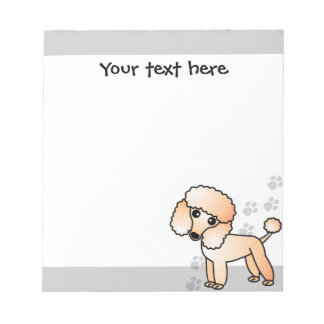 Cute Apricot Poodle Cartoon Grey Paw Print Notepads