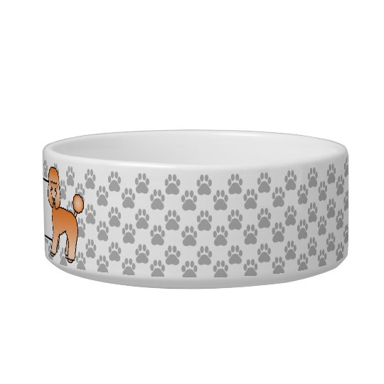 Cute Apricot Toy Poodle Dog And Dog's Own Name Bowl