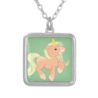 Cute Apricot Unicorn Silver Plated Necklace