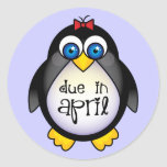 Cute April Maternity Penguin Baby Announcement