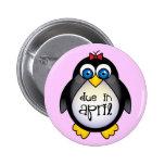 Cute April Maternity Penguin Baby Announcement Buttons