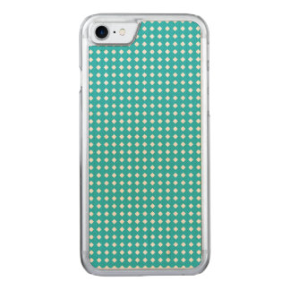 Cute Aqua and White Diamonds Pattern Carved iPhone 8/7 Case