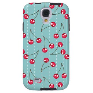 Cute Aqua Blue And Red Cherries Pattern Galaxy S4 Case