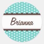 Cute aqua blue brown polka dots name tag for girls round sticker