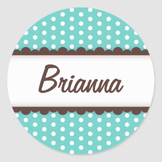 Cute aqua blue brown polka dots name tag for girls round stickers