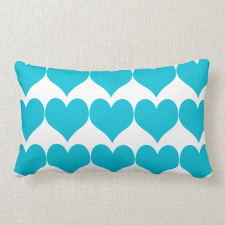 Cute Aqua Blue Hearts Pattern Lumbar Cushion