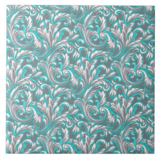 Cute aqua grey seamless floral pattern large square tile