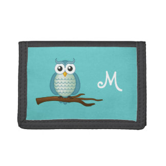 Cute Aqua Owl Monogram Wallet