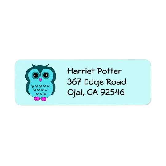Cute Aqua Owl Pink Feet Return Address Label
